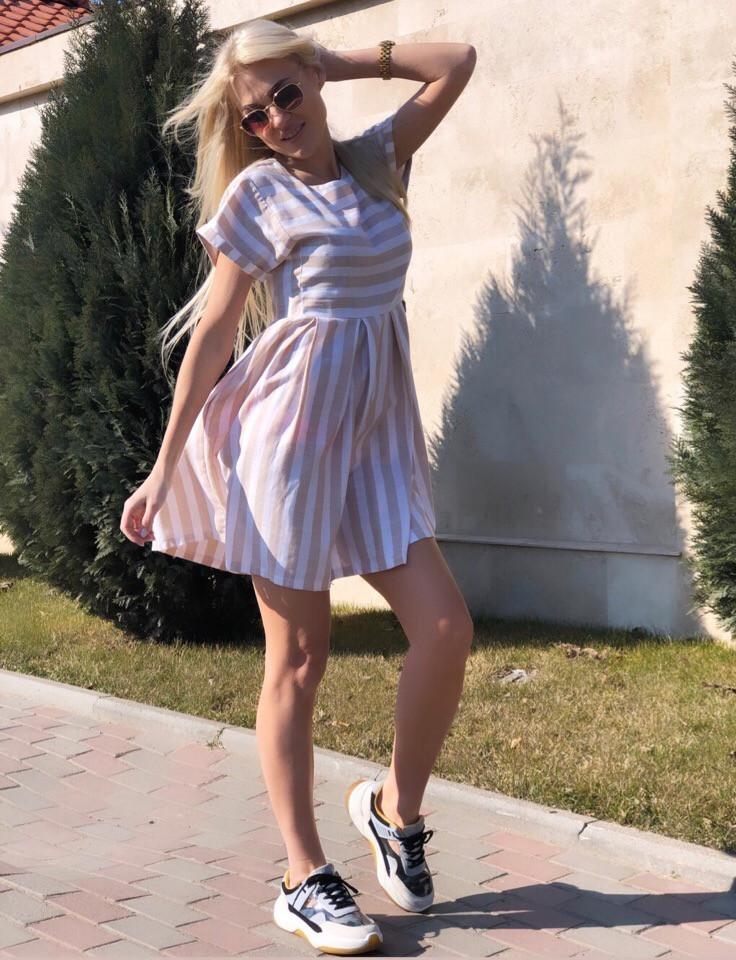 """Льняное летнее мини-платье в полоску """"Harman"""" с коротким рукавом (3 цвета)"""