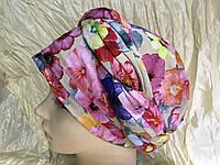 Летняя бандана-шапка-косынка в ярких цветах, фото 1