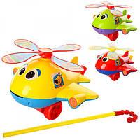 Каталка 0368, на палке41см, вертолет, звук, вращ.винт, высов.язык, 3цвета, в кульке, 22-21-13см