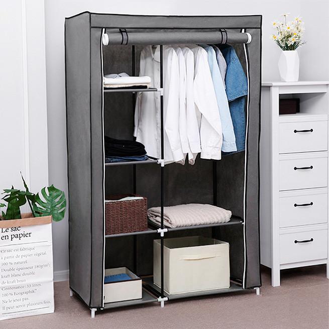Шкаф тканевый для одежды на 2 секции HCX «88105 gray» 105х45х170 см Серый