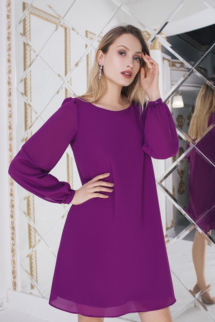"""Короткое шифоновое платье-трапеция """"Katherine"""" с длинным рукавом (3 цвета)"""