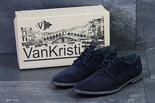 Туфлі чоловічі замшеві класичні VanKristi, сині