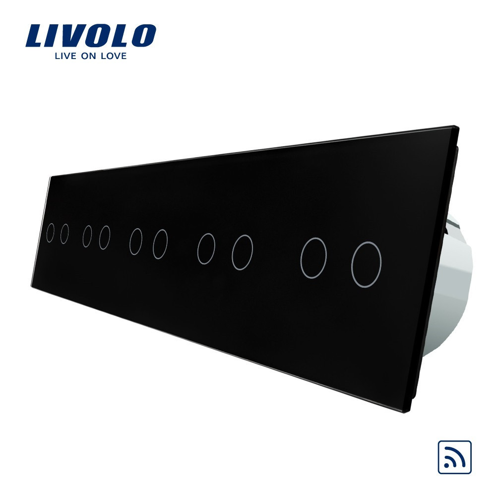 Сенсорный выключатель Livolo на 10 каналов с дистанционным управлением, черный (VL-C710R-12)