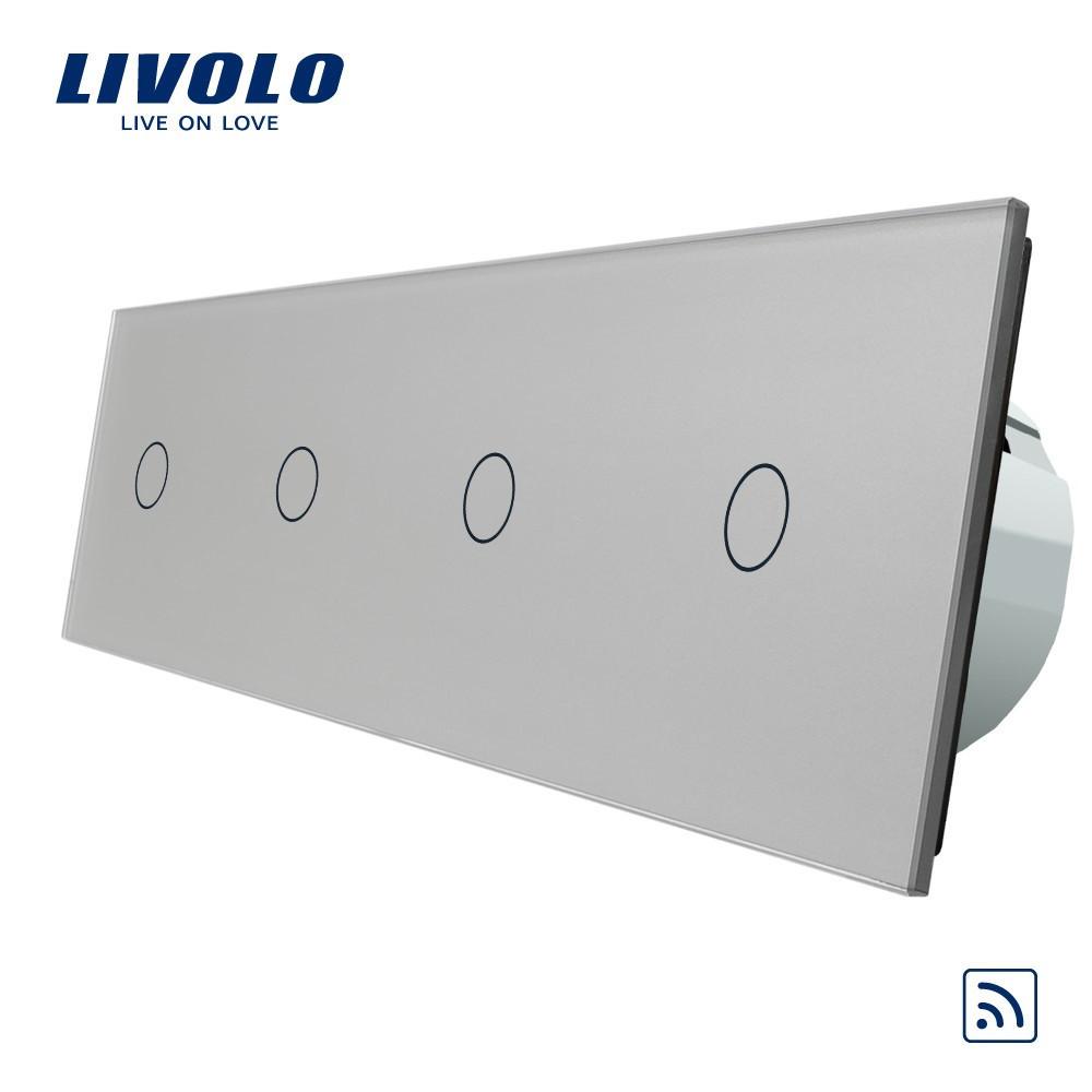 Сенсорный выключатель Livolo на 4 канала с дистанционным управлением, серый (VL-C704R-15)
