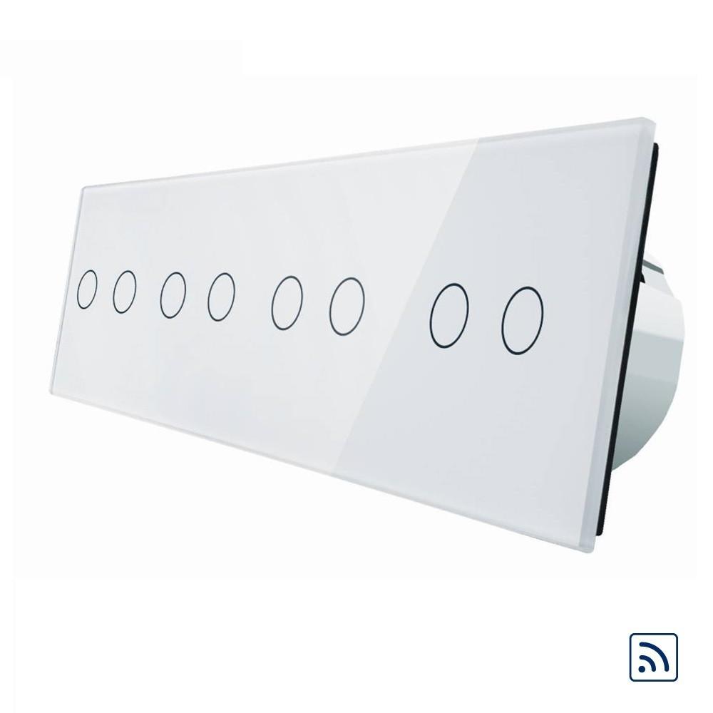 Сенсорный выключатель Livolo на 8 каналов с дистанционным управлением, белый (VL-C708R-11)
