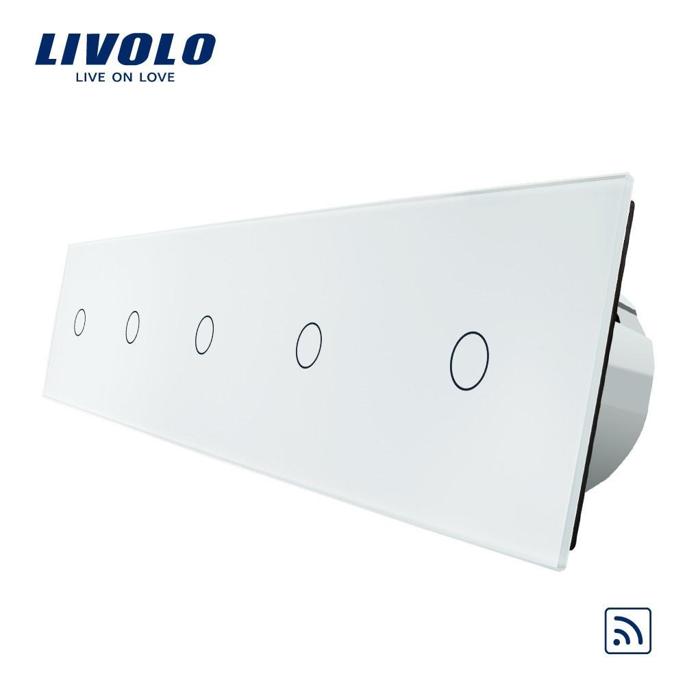 Сенсорный выключатель Livolo на 5 каналов с дистанционным управлением, белый (VL-C705R-11)