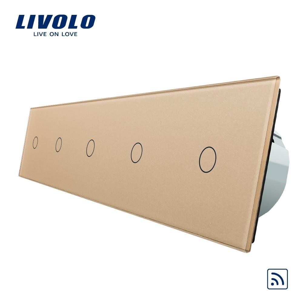 Сенсорный выключатель Livolo на 5 каналов с дистанционным управлением, золото (VL-C705R-13)