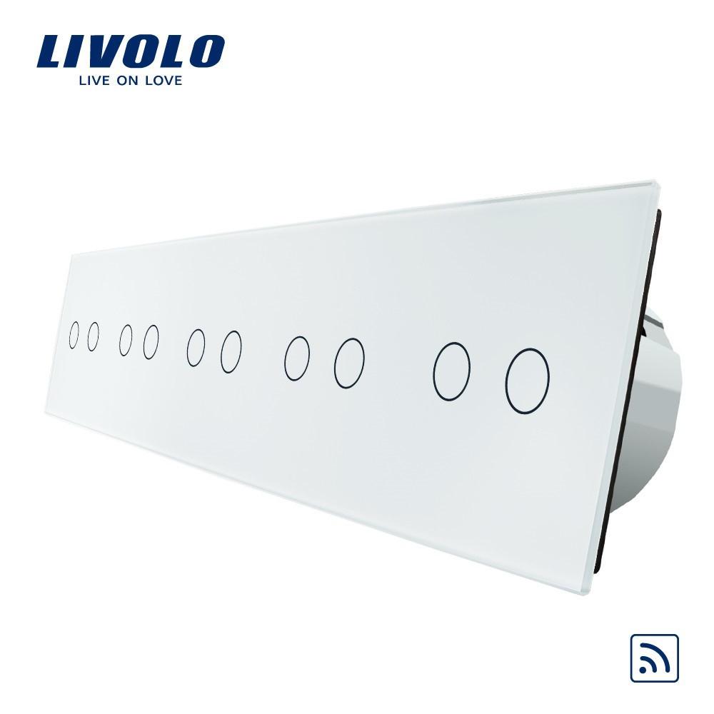 Сенсорный выключатель Livolo на 10 каналов с дистанционным управлением, белый (VL-C710R-11)