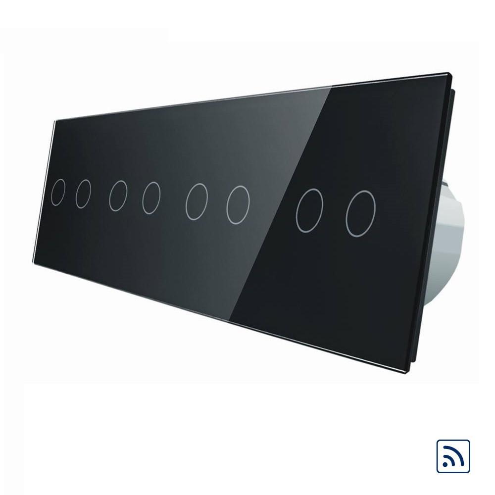 Сенсорный выключатель Livolo на 8 каналов с дистанционным управлением, черный (VL-C708R-12)