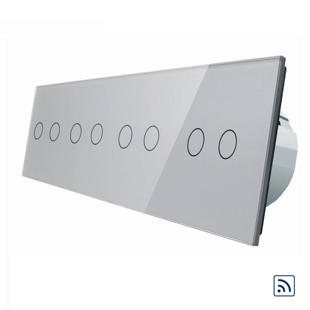 Сенсорный выключатель Livolo на 8 каналов с дистанционным управлением, серый (VL-C708R-15)