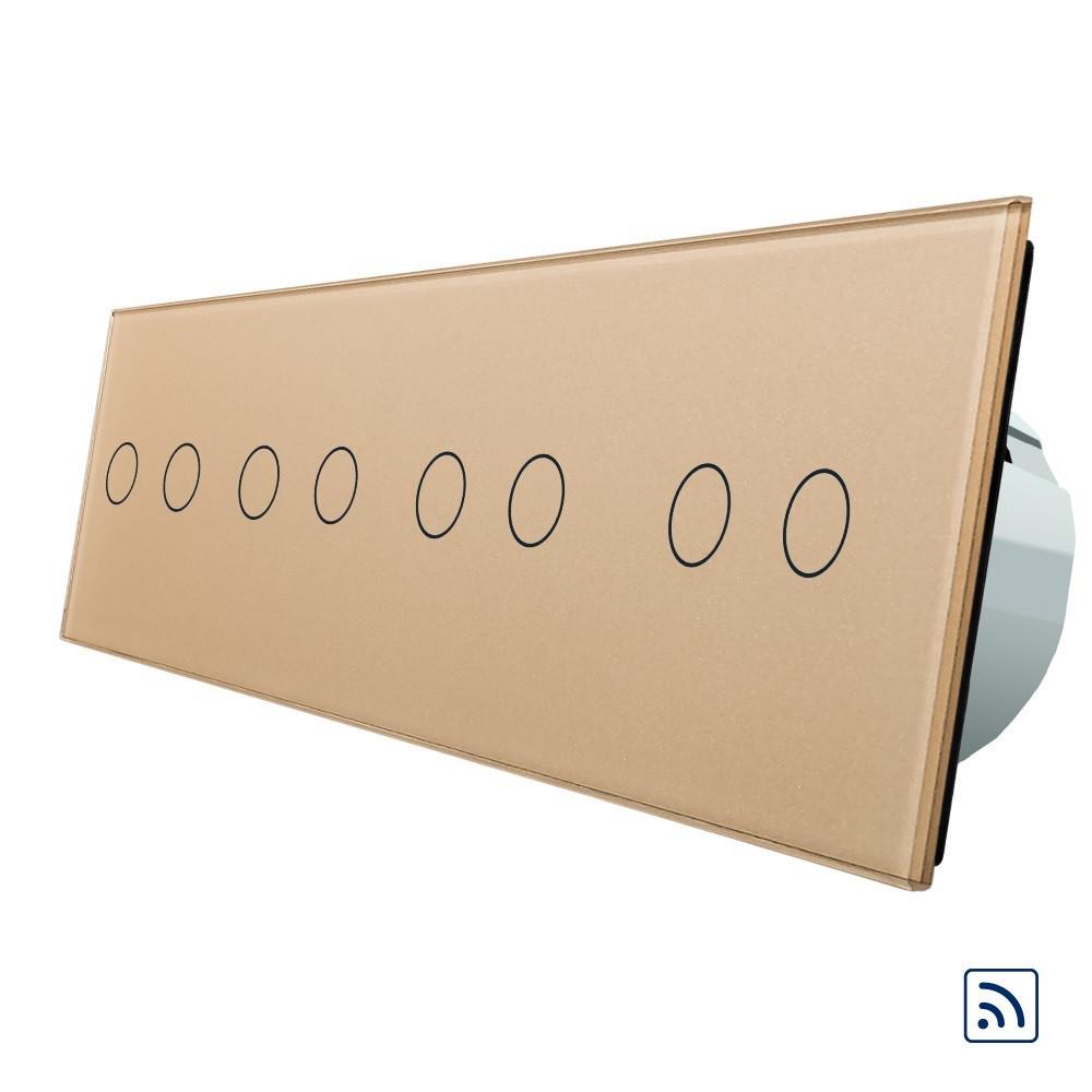 Сенсорный выключатель Livolo на 8 каналов с поддержкой дистанционного управления золото (VL-C708R-13)