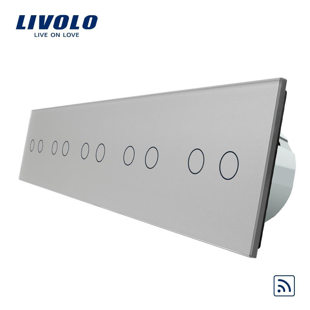 Сенсорный выключатель Livolo на 10 каналов с дистанционным управлением, серый (VL-C710R-15)
