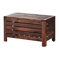 ÄPPLARÖ   Садовая скамья с ящиком, коричневый коричневая морилка