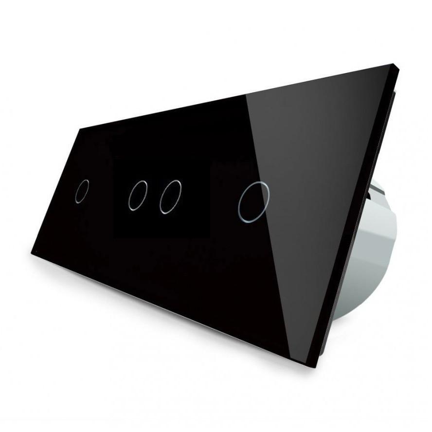 Сенсорный выключатель Livolo 1-2-1, цвет черный, стекло (VL-C701/C702/C701-12)