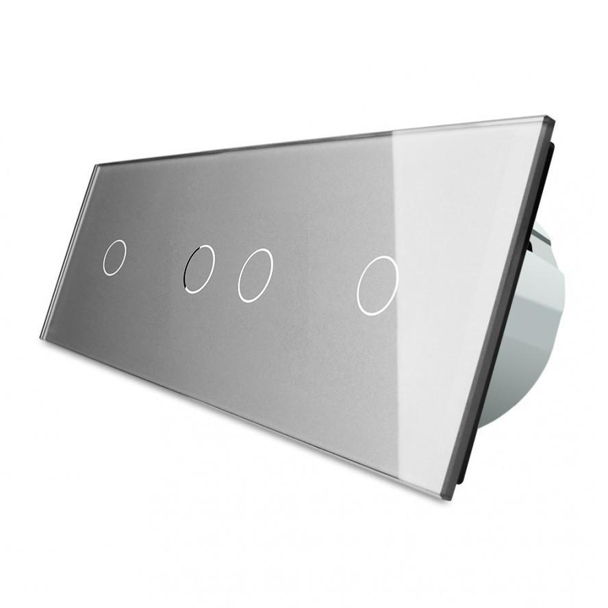 Сенсорный выключатель Livolo 1-2-1, цвет серый, стекло  (VL-C701/C702/C701-15)