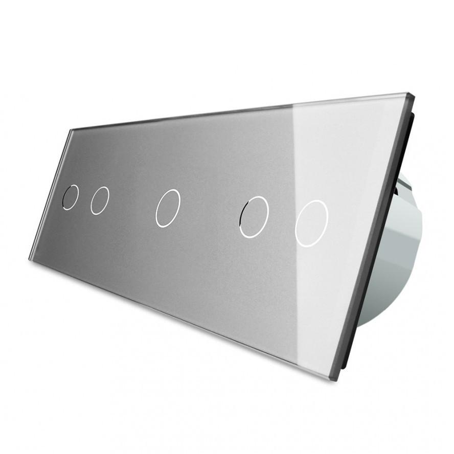 Сенсорный выключатель Livolo 2-1-2, цвет серый, стекло  (VL-C702/C701/C702-15)