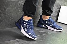 Модные кроссовки Nike air max 270 x Supreme, синие, фото 2