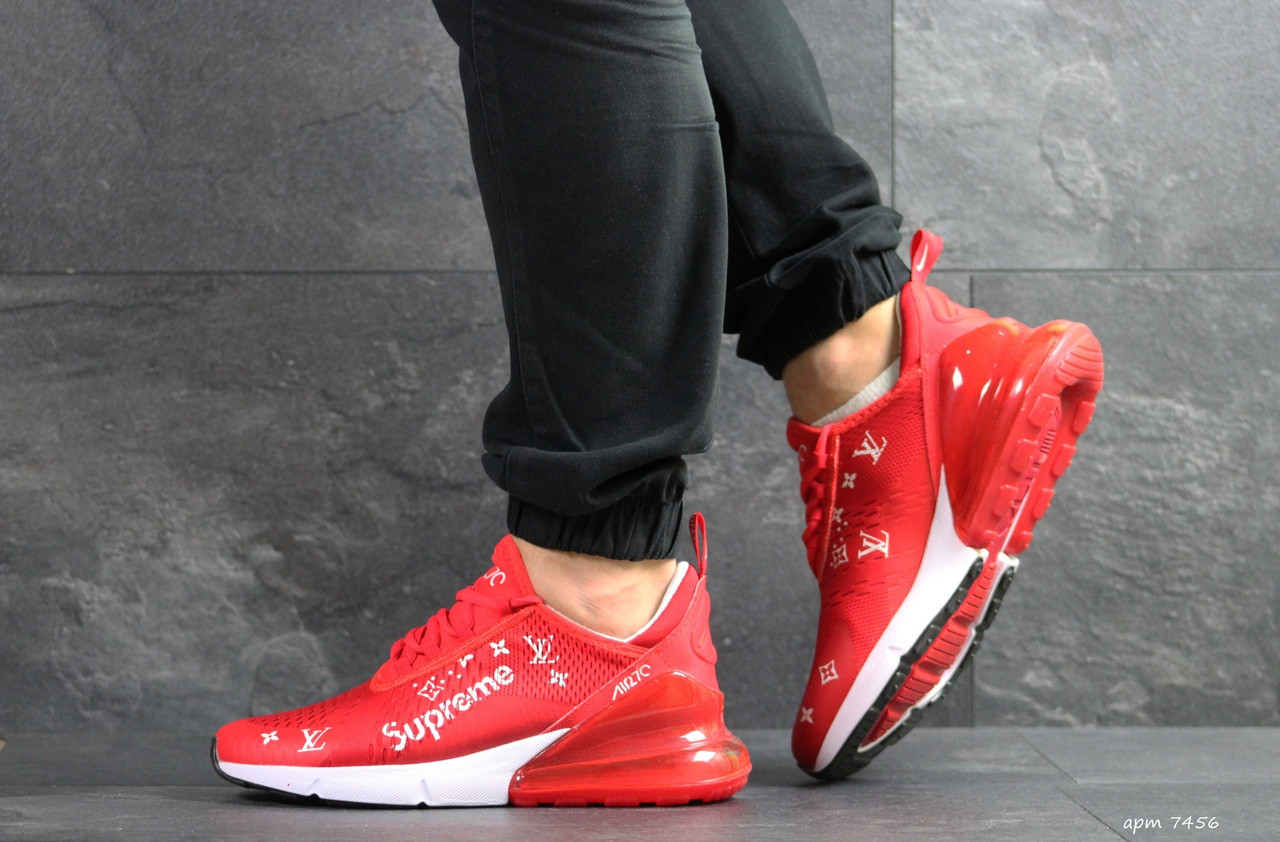 Модные кроссовки Nike air max 270 x Supreme,красные 44р