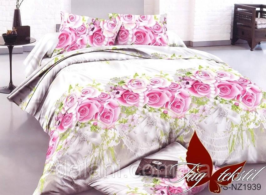 Полуторный комплект постельного белья из полисатина 3D Цветы