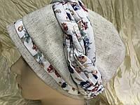 Летняя бандана-шапка-косынка-чалма лён с вискозой