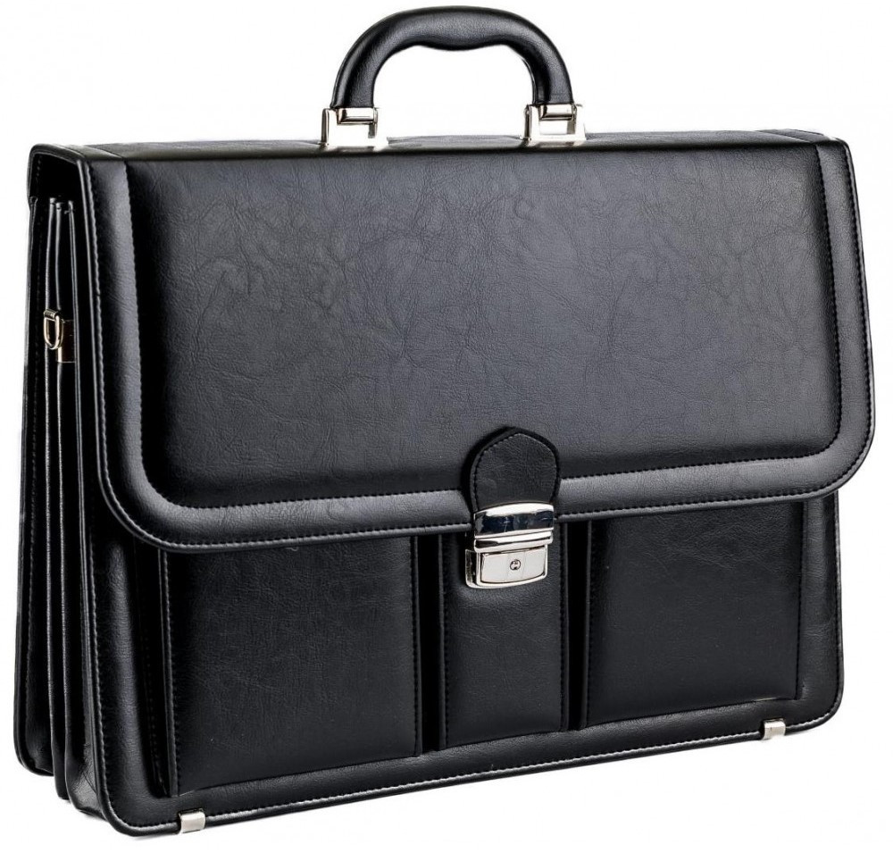 Большой деловой портфель из эко кожи AMO SST03 чёрный