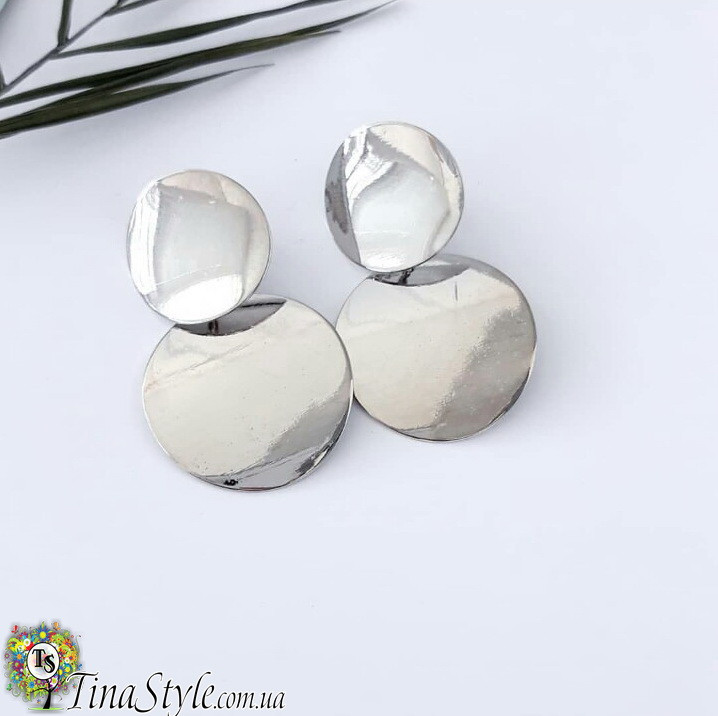 Серьги Монетки круги кольца серебренный цвет металик длинные сережки Ретро большие абстракция