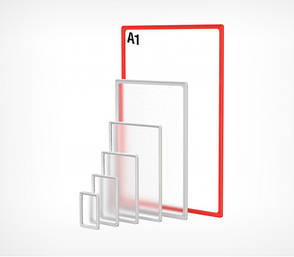 Рамка пластиковая ценникодержатель б/у формата A1 красная информационная табличка, фото 2