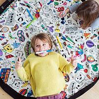 Детский игровой коврик-мешок для игрушек 2в1 Юный художник, крафт-пакет в подарок - 143019