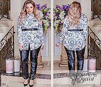 Блуза длинная принт шелк армани 58-60,62-64, фото 1