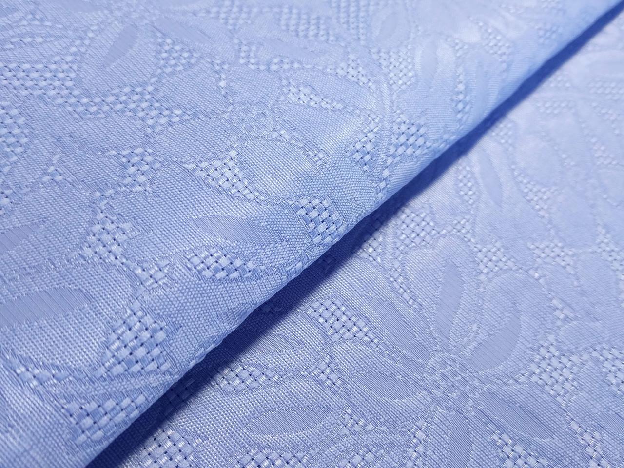 Жаккард цветочный, светло-голубой