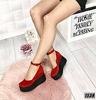 Туфли замшевые красные на платформе с ремешком , фото 1