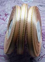 Стрічка атласна, персикова з золотистим люрексом, 6мм, 33м. №20