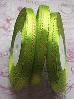 Стрічка атласна, оливкова з золотистим люрексом, 6мм, 33м. №19