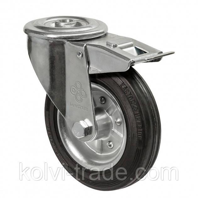 Колеса поворотные с отверстием и тормозом Диаметр: 125мм. Серия 31 Norma