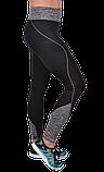 Спортивные чёрные лосины с серыми вставками, фото 3