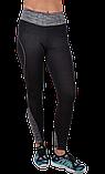 Спортивные чёрные лосины с серыми вставками, фото 4