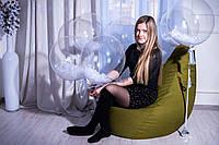 Кресло Груша, мебельная ткань Рогожка S (90*60см) для детей, Зеленый