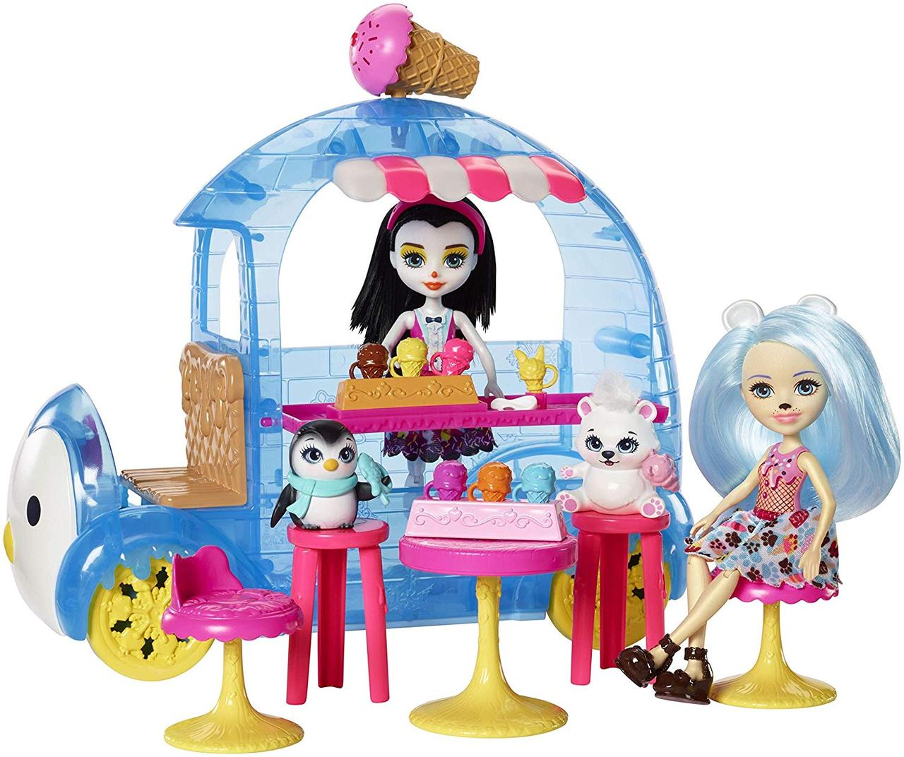 Enchantimals. Wheel Frozen Treats: Preena Penguin & Jayla and Polar Bear (Энчантималс. Фургон с мороженным.)