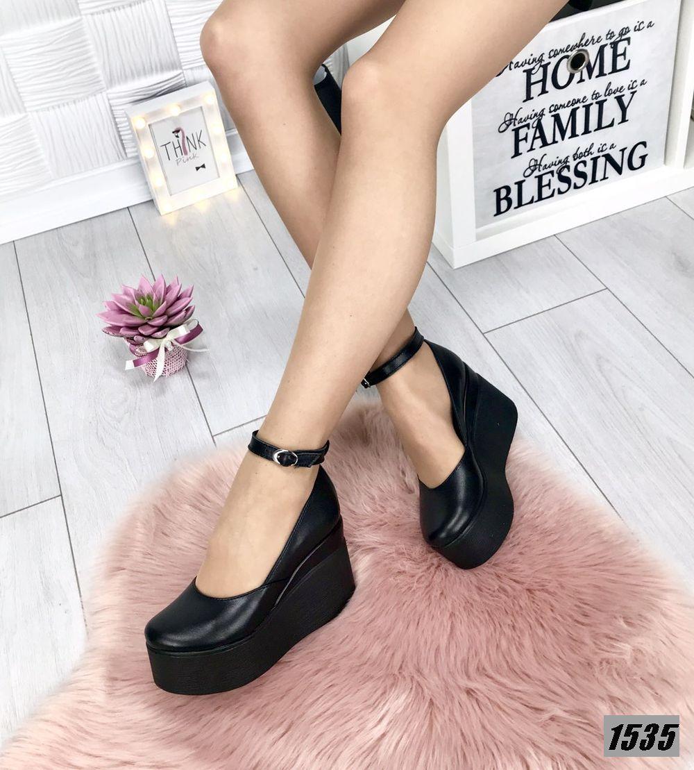 Туфли женские кожаные черные на платформе с ремешком