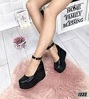 Туфли женские кожаные черные на платформе с ремешком, фото 1