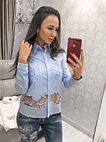 Рубашка женская модная нежная с вставкой фатина и карманами с жемчугом Bvv295, фото 1