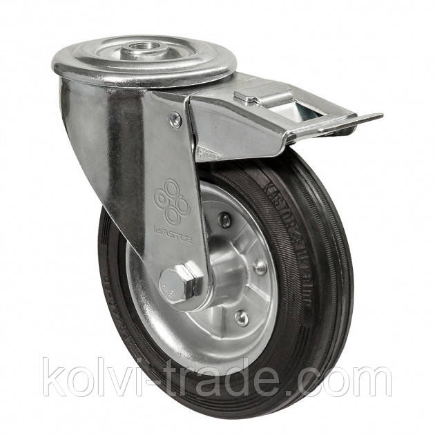 Колеса поворотные с отверстием и тормозом Диаметр: 160мм.Серия 31 Norma