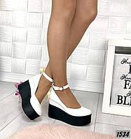 Туфли женские кожаные белые на платформе с ремешком, фото 1