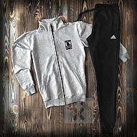 Костюм спортивний на блискавці Adidas Адідас сірий з чорним (РЕПЛІКА)