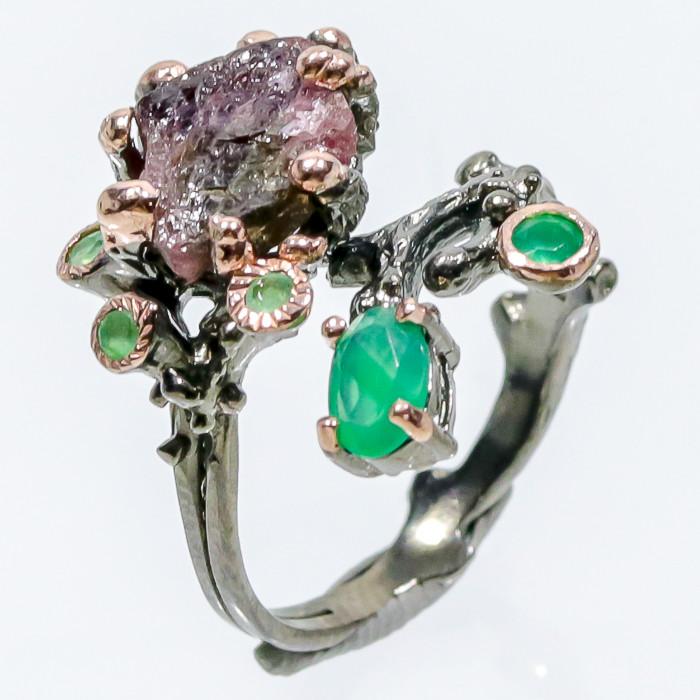 Турмалин оникс кольцо с натуральным турмалином и зеленым ониксом в серебре 17,5-18 размер Тайланд
