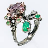 Турмалин оникс кольцо с натуральным турмалином и зеленым ониксом в серебре 17,5-18 размер Тайланд, фото 1