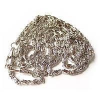 Цепочка плетеная с карабинами серебро 120 см