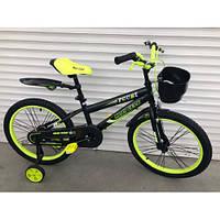 Детский двухколесный велосипед 16 дюймов боковые колеса и корзинка