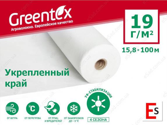 Агроволокно GREENTEX p-19 УК - 19 г/м², 15,8 x 100 м, укріплені кінці біле в рулоні, фото 2