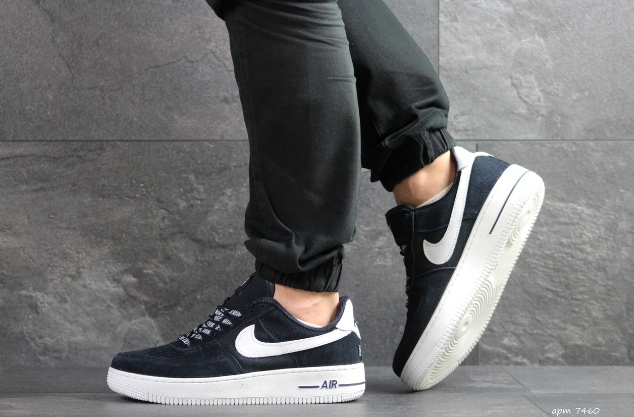 Кроссовки мужские Nike Air Force AF 1,замшевые,темно синие